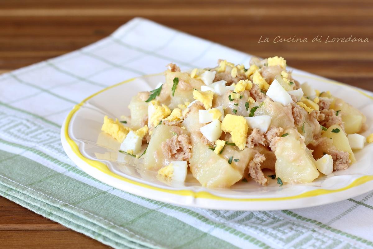 insalata di patate con tonno