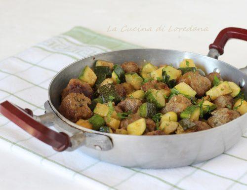 Polpette e zucchine in padella