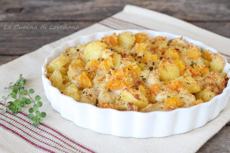 zucca pollo e patate al forno