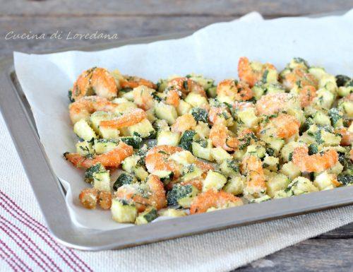 Gamberi e zucchine gratinati