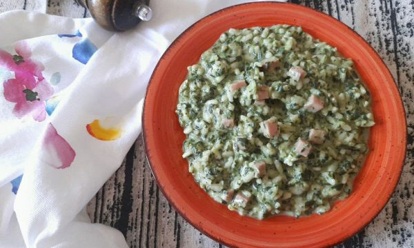 Risotto agli spinaci e prosciutto cotto