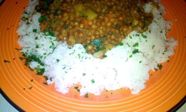Riso basmati con lenticchie al curry
