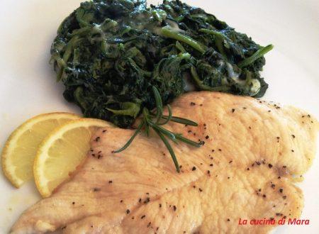 Pollo al limone e zenzero con spinaci filanti