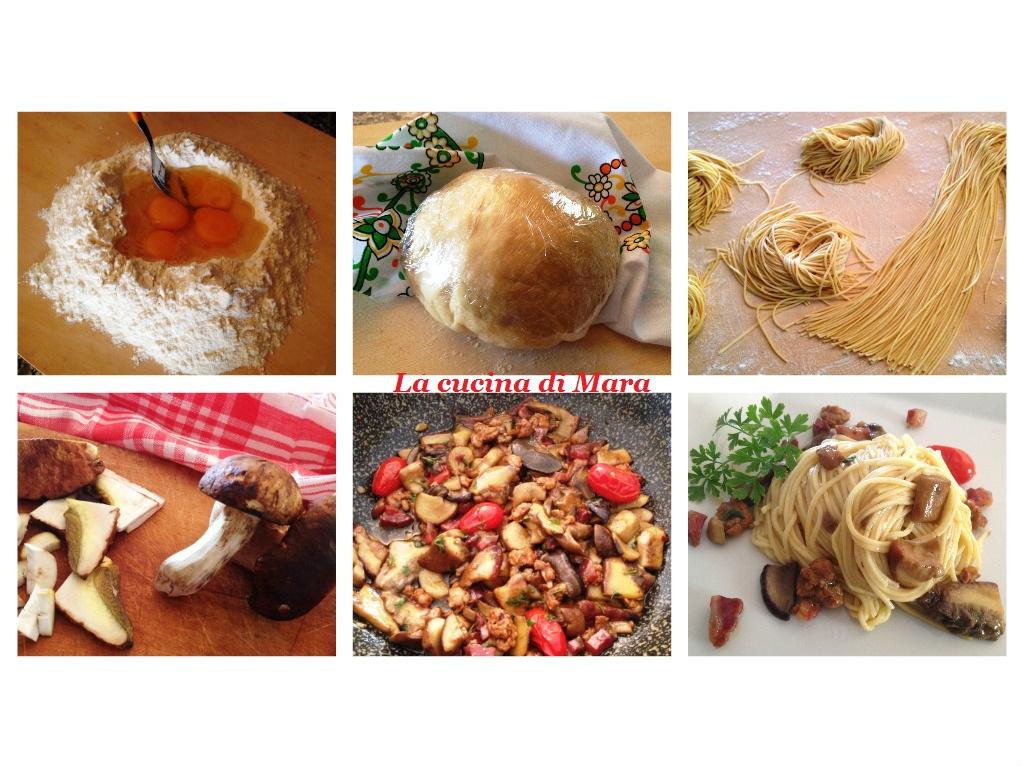 Tagliolini freschi, porcini e salsiccia