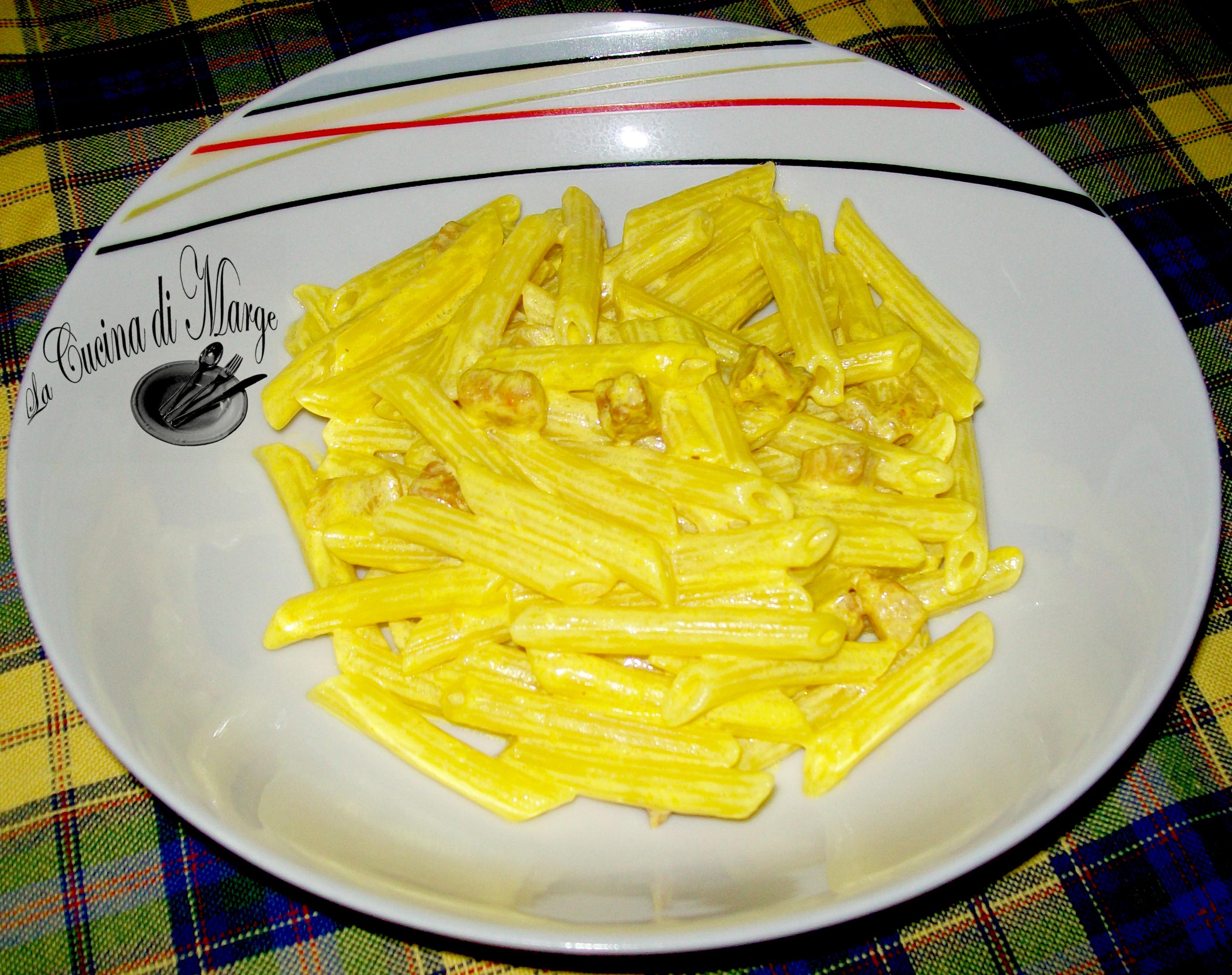 Penne con panna zafferano e pancetta,ricetta primo piatto veloce