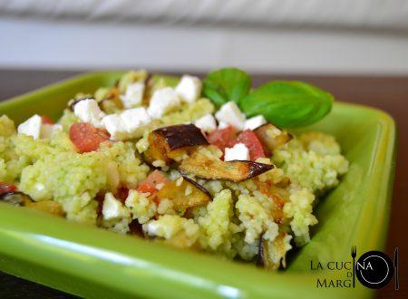 Couscous con pesto e melanzane