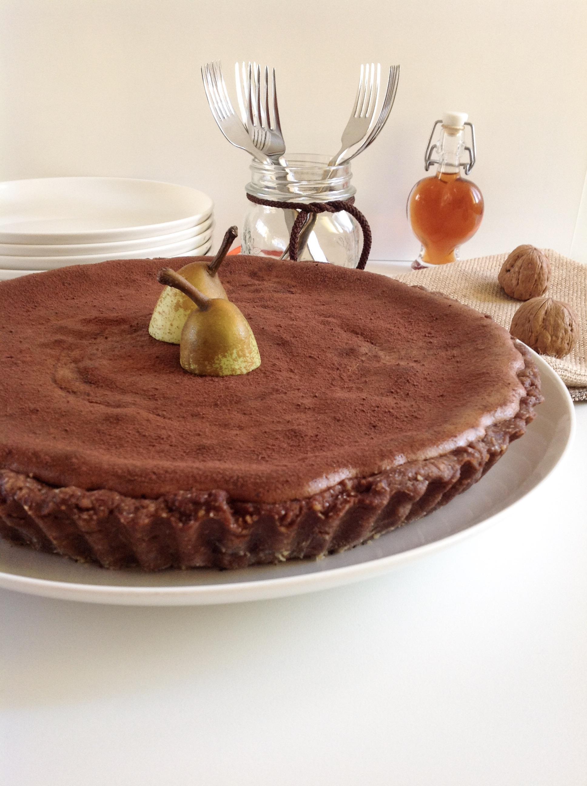 Crostata soufflé al cioccolato e pere