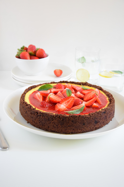 Cheesecake alla vaniglia con coulis di fragole