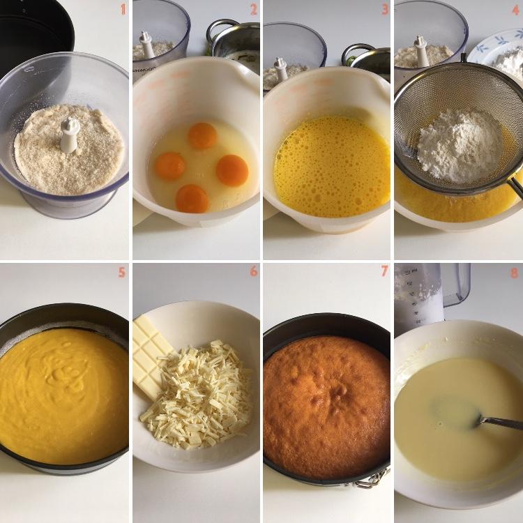 Torta di mandorle con ganache al cioccolato bianco e limone