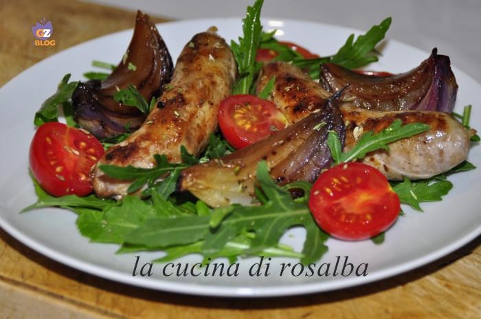 insalata rucola salsiccia cipolle ricetta la cucina di rosalba