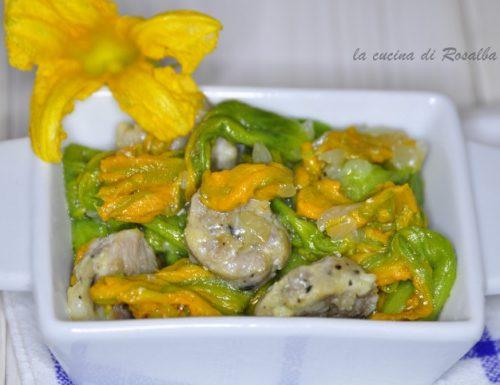 fiori di zucca stufati con salsiccia