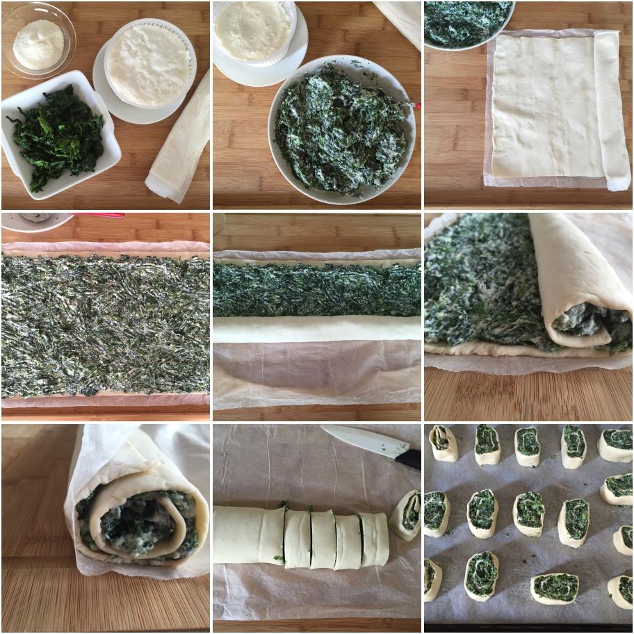 procedimento rotolo di pasta sfoglia con ricotta e spinaci
