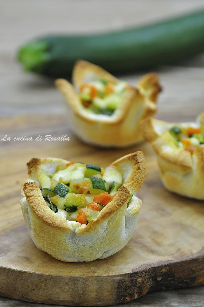 cestini di pancarrè con zucchine