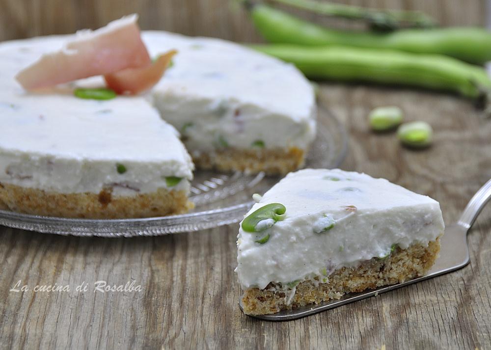 cheesecake salata fave e crudo - ricette con le fave