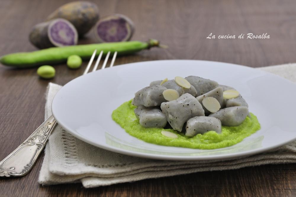 gnocchi di patate viola con pesto di fave - ricette con le fave