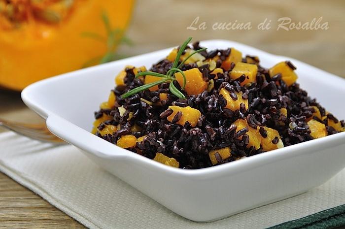 riso venere alla zucca - raccolta di ricette con la zucca