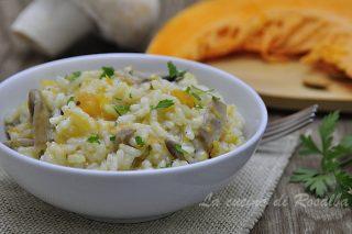 risotto con funghi e zucca - raccolta di ricette con la zucca