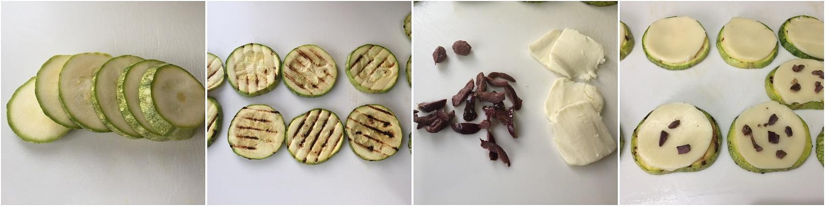 preparazione torrette di zucchine tonde al formaggio e olive