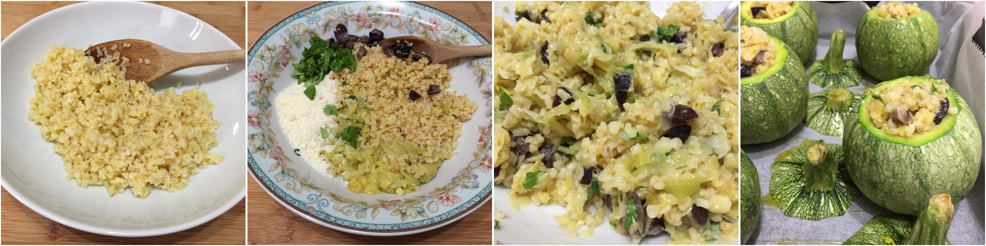 procedimento zucchine tonde ripiene di bulgur e olive nere