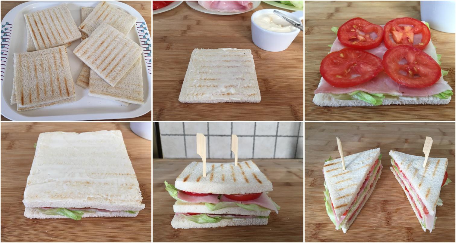 preparazione club sandwich con prosciutto pomodoro e lattuga