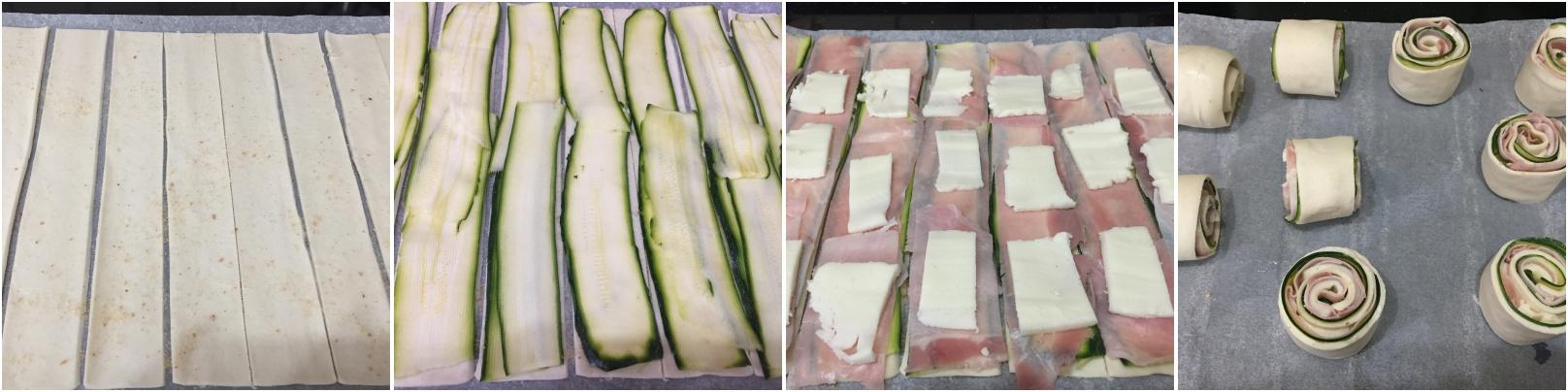procedimento girelle di sfoglia con zucchine prosciutto e mozzarella