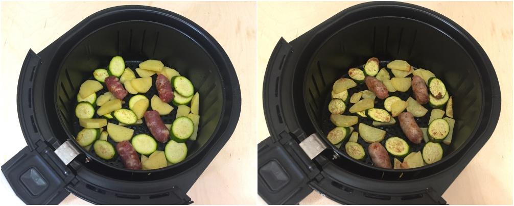 salsiccia con patate e zucchine nella friggitrice ad aria