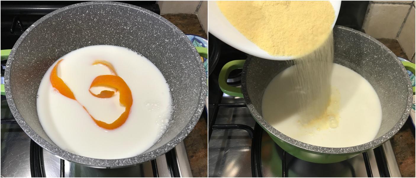 come fare il migliaccio al cioccolato, riscalda il latte e versa il semolino