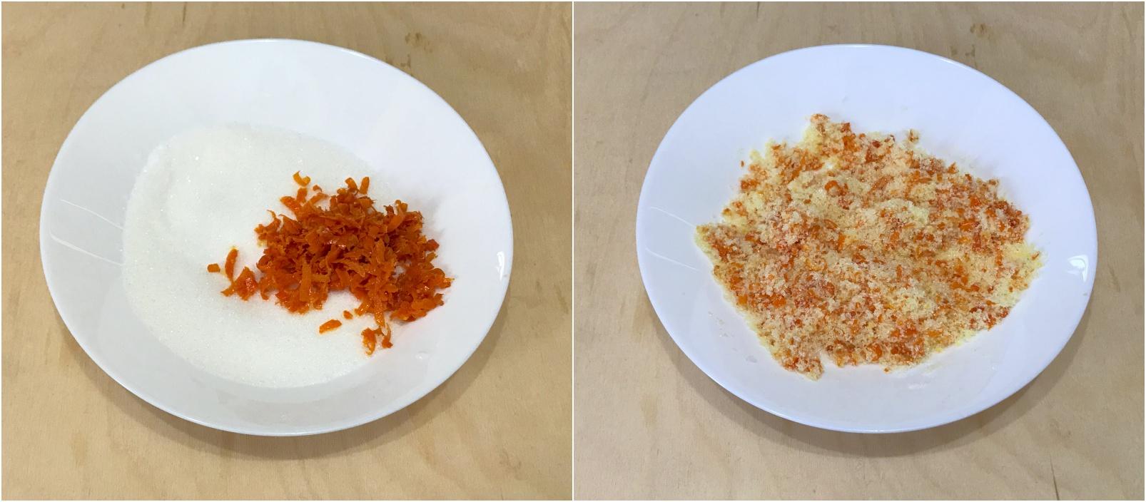 come preparare gli arancini di carnevale di pasta sfoglia, mescola la scorza d'arancia  con lo zucchero