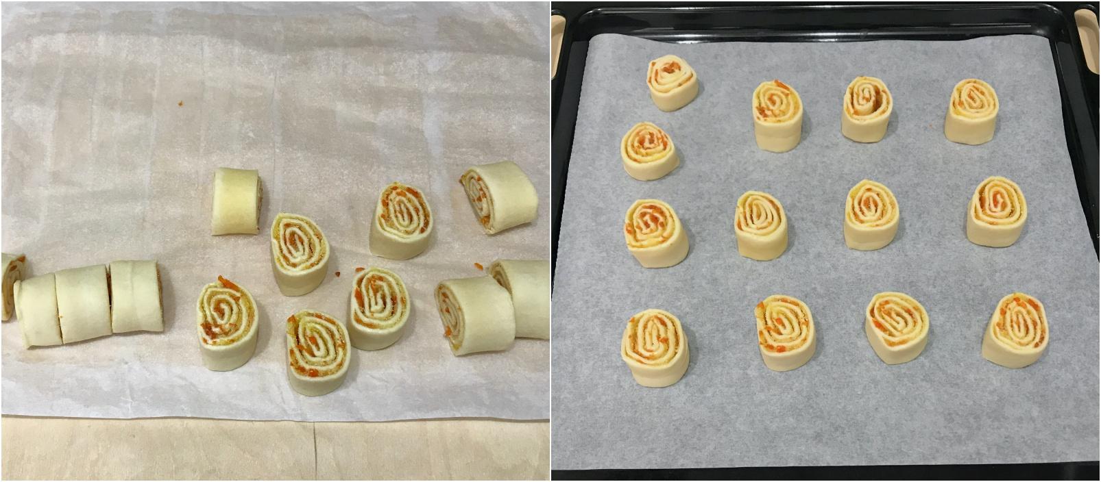 come preparare gli arancini di carnevale di pasta sfoglia, affettare e cuocere