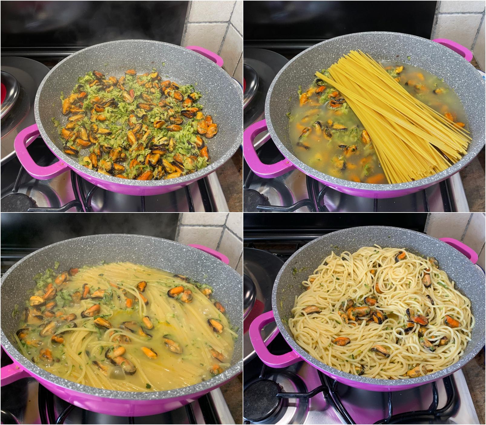 spaghetti con cozze e zucchine con Magic Cooker