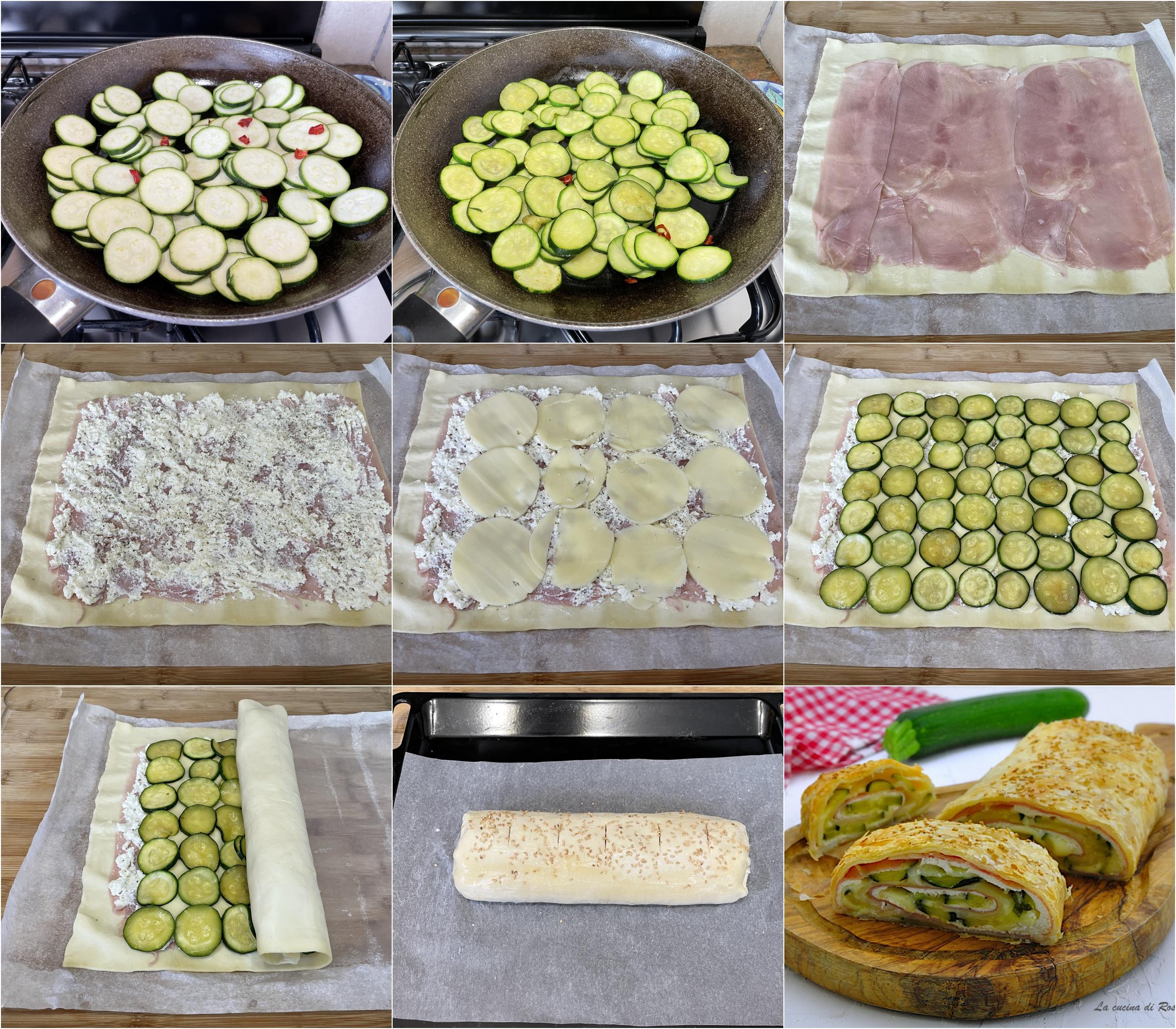 come fare rotolo pasta sfoglia zucchine prosciutto formaggio