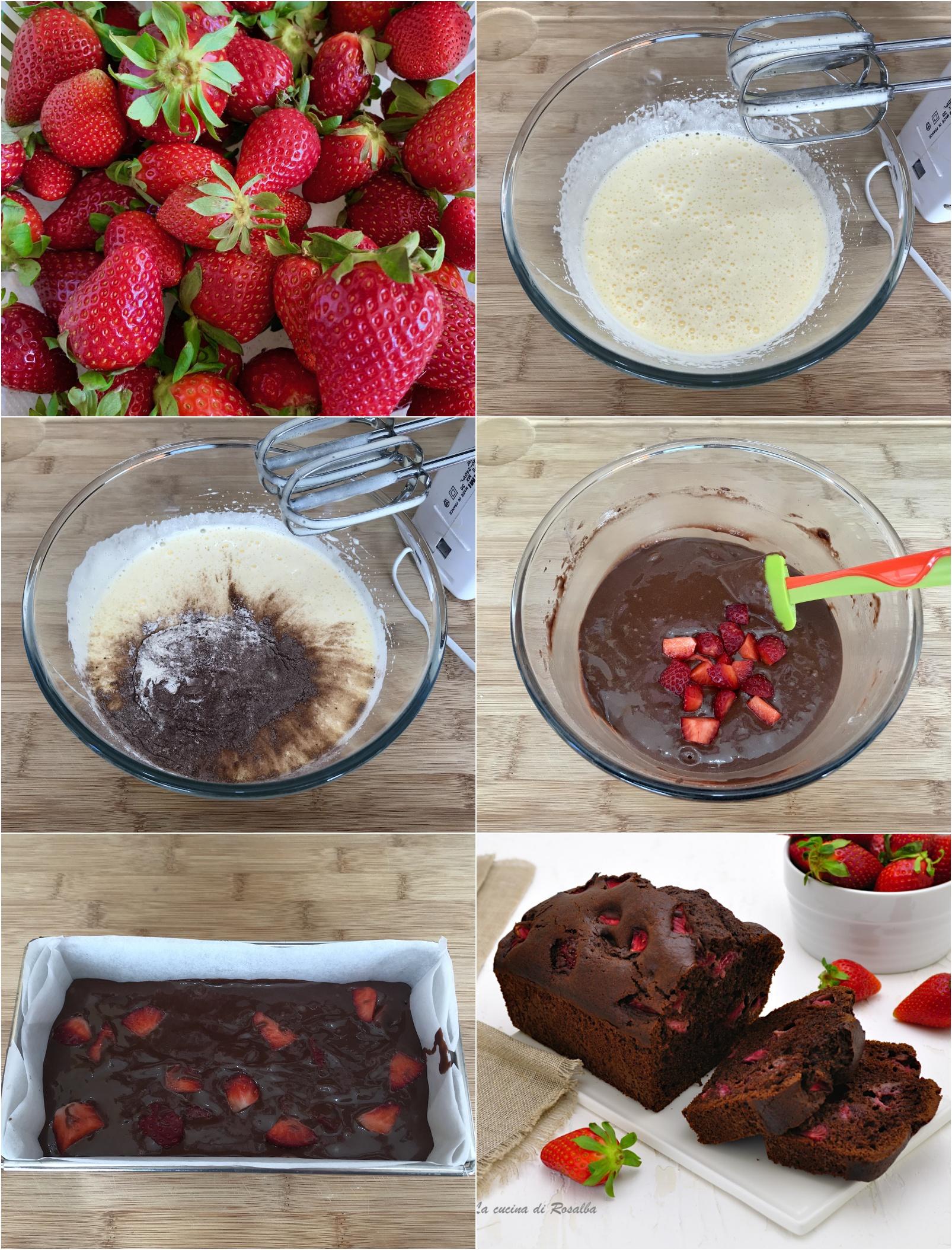 come preparare il plumcake al cioccolato e fragole