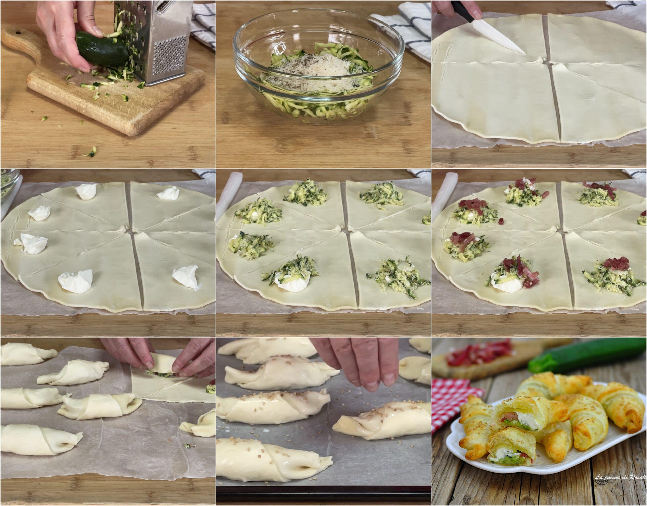 come fare cornetti di sfoglia con zucchine, speck e formaggio