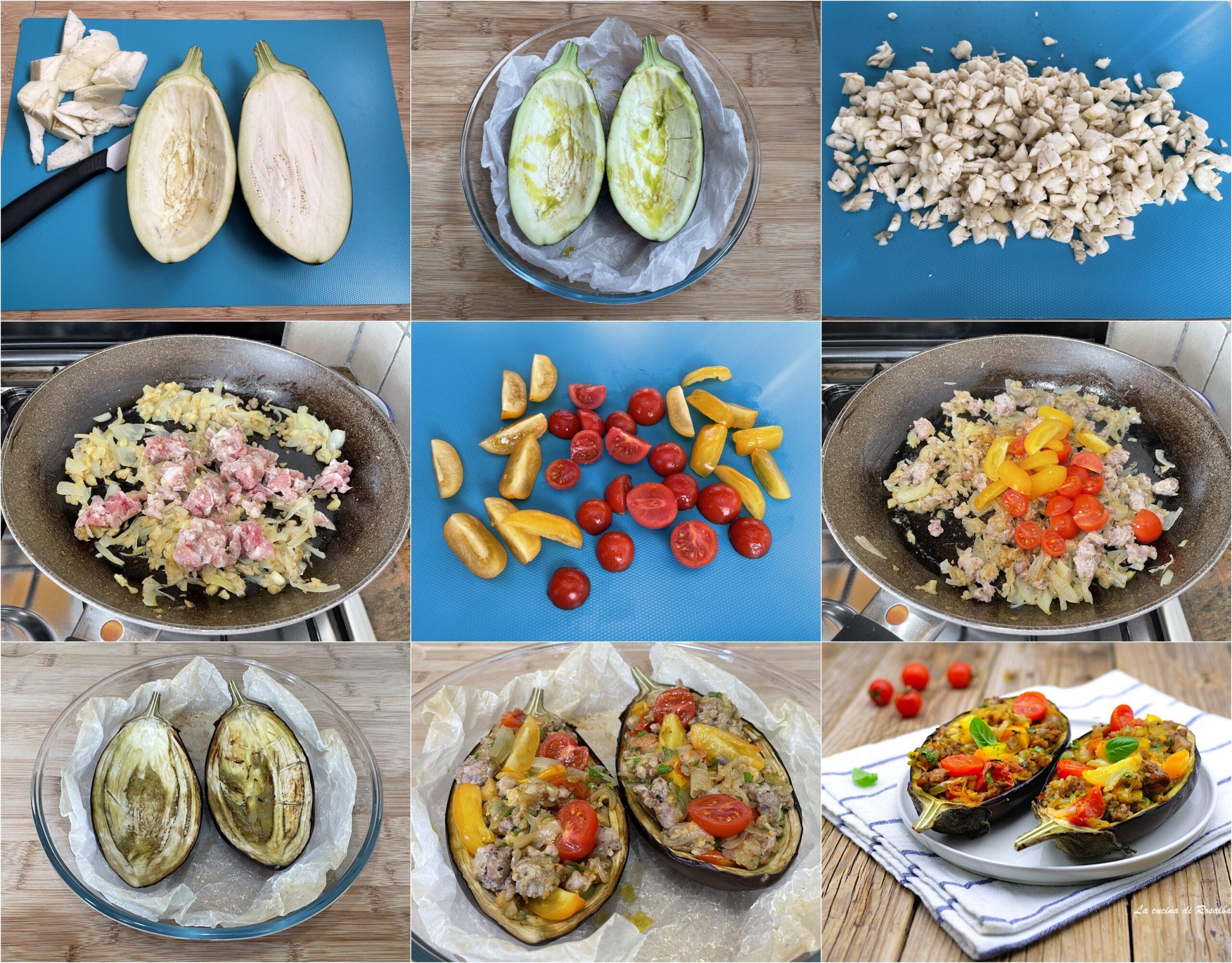 come fare le melanzane ripiene di salsiccia e pomodorini, ricetta e foto