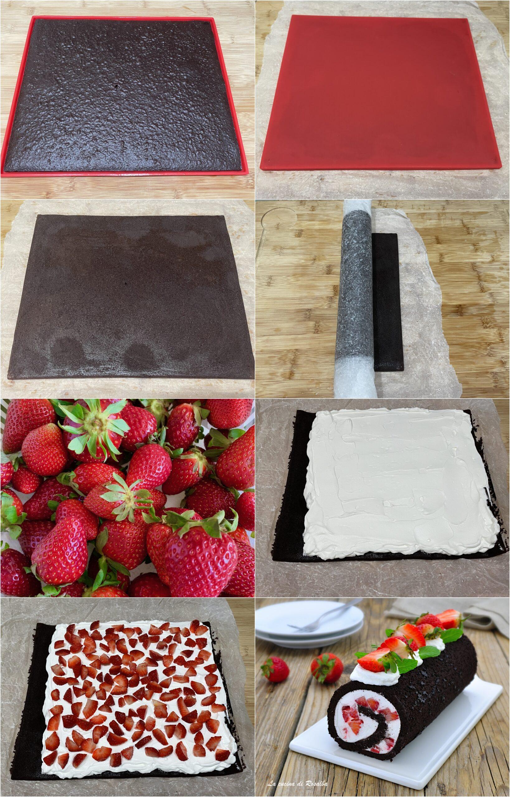 come fare rotolo al cioccolato panna e fragole, ricetta e foto