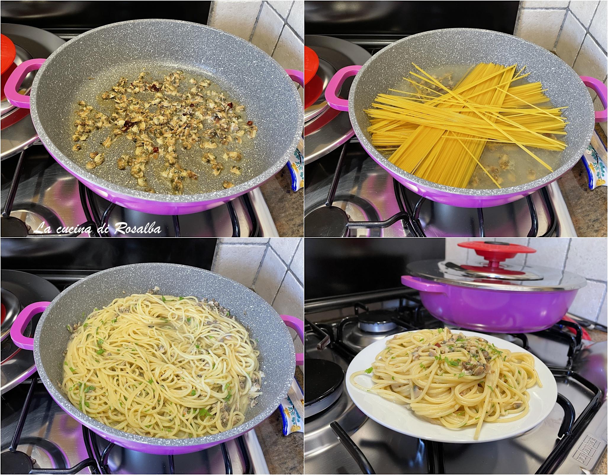Spaghetti alle vongole sgusciate con il coperchio Magic Cooker