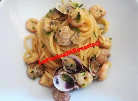 Spaghetti con Lupini Gamberi e Zucchine