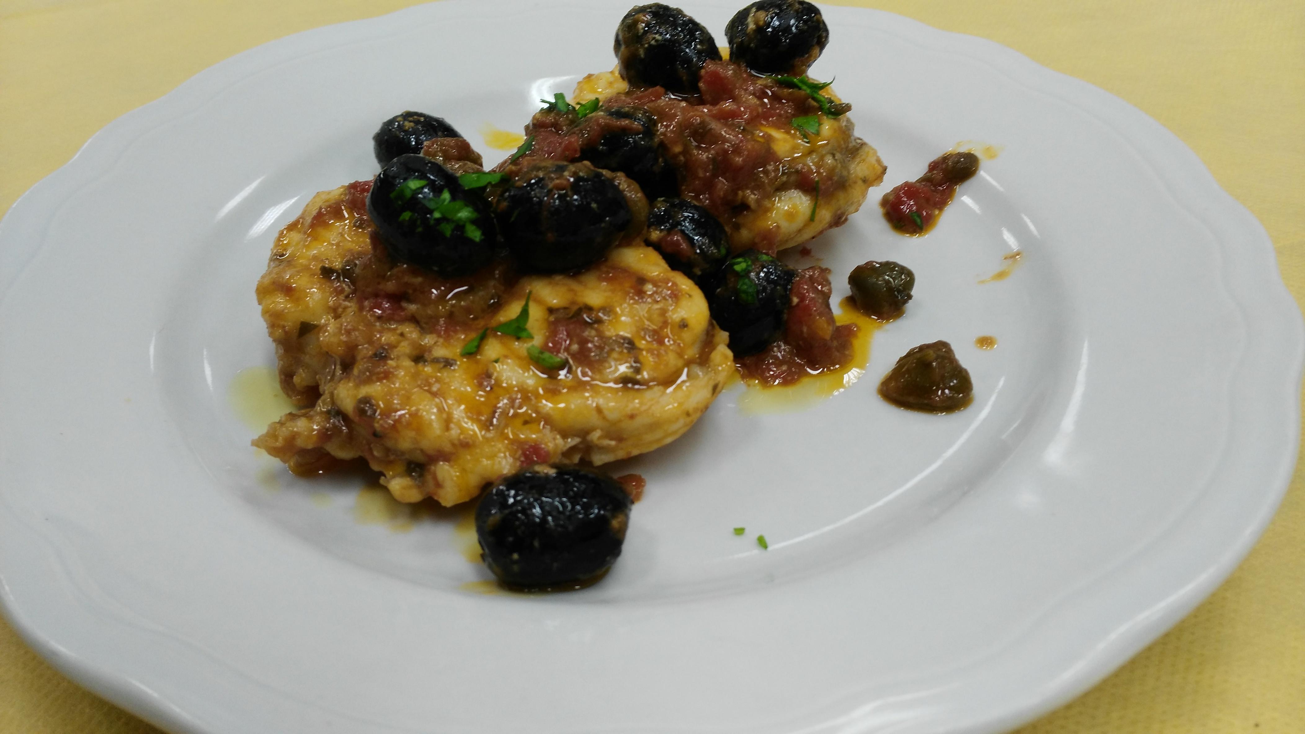 Rana pescatrice (o coda di rospo) in umido con olive e capperi