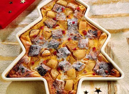 Una ricetta al giorno per Natale e Capodanno: Clafoutis di panettone e pere.