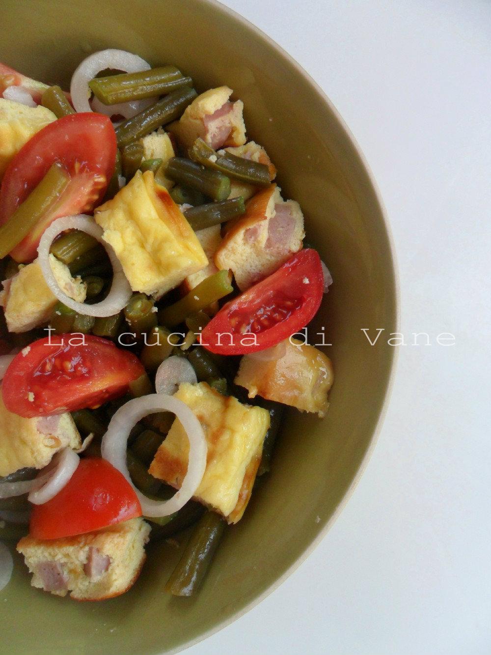 insalata di frittata e fagiolini