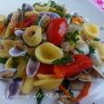 Orecchiette con telline fiori di zucca e pomodorini