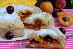 Crostata morbida con albicocche e ciliegie