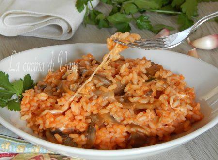 Riso pomodoro mozzarella e funghi