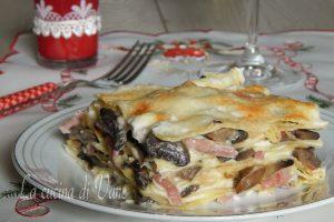 Lasagne bianche funghi e speck