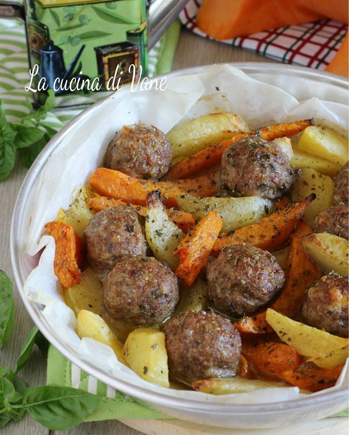 polpette al forno con patate e zucca