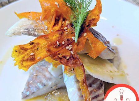 Filetti di rombo su crema di finocchi e carote