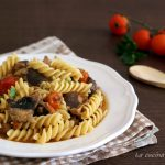 Pasta pomodorini salsiccia di Norcia e funghi cardoncelli