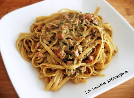 Linguine speziate zucchine e pancetta