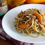 Spaghetti tonno peperoni arrostiti e ricotta salata