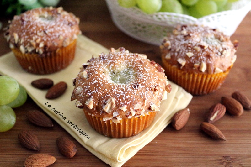 muffin uva e mandorle senza burro